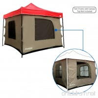 Camping Tent attaches to any 10'x10' Easy Up Pop Up Canopy Tent with 4 Walls PVC Floor 2 Doors and 4 Windows - solid Roof - Standing Tent - Family Room Tent - TENT FRAME AND CANOPY NOT INCLUDED - B01M3R6NUA
