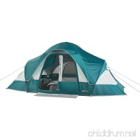 Family Camping Tent for 8-Persons with Removable Center Room Divider and Two Front Doors - Turquoise/Light Grey - B06XCLJ82B