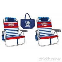 2 Tommy Bahama Backpack Beach Chairs/ Red White Blue Stripes + 1 Medium Tote Bag - B01N2TM5T7