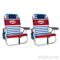 2 Tommy Bahama Backpack Cooler Chair with Storage Pouch and Towel Bar (Red/White/Blue & Red/White/Blue) - B01N0P0Q4Y