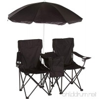Double Folding Camp and Beach Chair with Removable Umbrella and Cooler by Trademark Innovations - B015JSAQR4