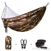 Double Camping Hammock - Outdoor Lightweight Portable Hammock - Parachute Nylon Hammock with Tree Straps for Backpacking Travel Beach Yard - B07D35FPD2