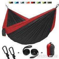 "Double Camping Hammock  Portable Lightweight Parachute Nylon 210T Hammock with Carabiners & Hammock Straps for Outdoor Backpacking Survival or Travel  Camping  Beach ( 118"" x 78"") - B07CYH872V"
