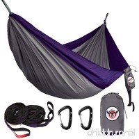 Iron Moose Outfitters Outdoor Double Camping Hammock Gear Set By includes Tear Resistant Rip-Stop Nylon Hammock fits two person  12KN Wiregate Carabiners and Heavy-Duty Tree Straps - B075QN6FHZ