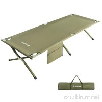 KingCamp Camping Cot Military Style OVERSIZED Heavy Duty Folding Bed Anodized Steel Frame with Washable Mildew Resistant Polyester Fabric  Support 300 lbs Carry Bag Included - B01MRXAI0Y