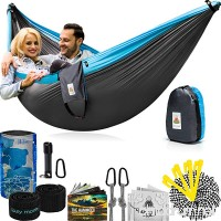 Lazy Monk Portable Camping Hammock Tent - 2 Person Hammocks with Tree Straps - BEST Double Parachute Gear - B075ZBW4PY