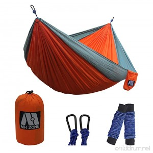 M MH ZONE Portable Hammock Best Lightweight Double Nylon Camping Hammock with Hammock Tree Straps for Backpacking Travel or camping. 118(L) x 78(W) - B0742GY385