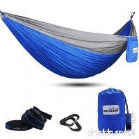 Mersuii Double Camping Hammock with Tree Straps Lightweight Portable Nylon 2 Person Outdoor Hammock for Backpacking Travel the Beach and Your Backyard - B071W8M866