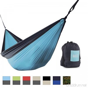 Rallt Camping Hammock - Ripstop Parachute Nylon - Gear for Hiking Backpacking and Survival - Lightweight Portable Durable - B07CH9R3SV