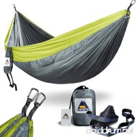 "USA PolarBear Portable Lightweight Single & Double Camping Hammocks 120"" (L) x 80""(W) for Backpacking  Travel  Beach  Hiking  Yard Contain 2 x Tree Straps (120"" L) & 2 x Carabiners for Easy Setup - B071Y76G9Q"