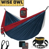 Wise Owl Outfitters Camping Hammock With Tree Straps Single & Double Portable Lightweight Heavy Duty Nylon Hammocks – Best Camp Gear for Outdoors  Beach  Hiking - Many Colors - B07B8916YR