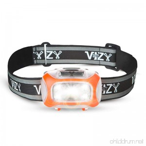 247 Viz LED Headlamp with Motion Sensor - See the Road & Stay Safe - 2 Bright White & 2 Red Lights - Running Hiking Camping Dog Walking and Night Safety for Kids - Lightweight Head Lamp for Comfort - B076PFH8BW