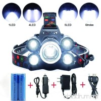 5 LED Headlamp 8000 Lumens 4 Modes Waterproof Flashlight Headlight Torch with 2 Rechargeable Batteries  USB Cable  Wall Charger and Car Charger for Hiking Camping Riding Fishing Hunting Outdoor Sports - B073DCM5HQ