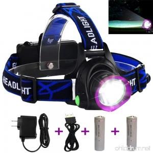 Adjustable Headlamp LED Headlamp Flashlight Headlights with Rechargeable 18650 Batteries USB Charger for Cycling Running Dog Walking Camping Hiking Fishing Night Reading (Purple headlamp) - B075V4J4JK