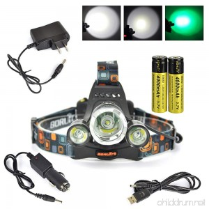 Boruit Headlamp with Green Light –Green Coyote Hog Hunting Light – Green Fishing Head Lamp- Rechargeable Green Blacklight & Adjustable Perfect Headlights for Camping Running Cycling Caving - B01CHYR0L8