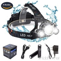 DABASO Rechargeable Headlamp Adjustable Headband and 90 Degree Moving Light 8000 Lumen Waterproof LED Headlight with 4 Brightness Modes for Running Camping Cycling Fishing Hunting Climbing - B076THG659