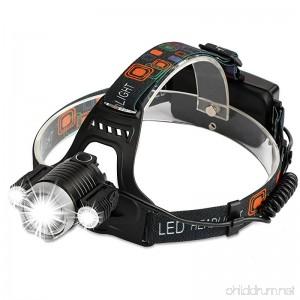 DAMULY Brightest and Best LED Headlamp 6000 Lumen flashlight LED 2 Rechargeable 18650 headlight flashlights Waterproof Hard Hat Light Bright Head Lights Camping Running headlamps - B07D8S1GSQ