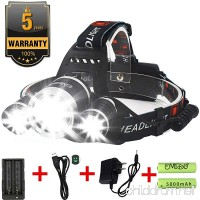 EMIDO LED Headlamp  4 Modes LED Head Torch  18650 Rechargeable Batteries Headlight Hard Hat Light Flashlight  for Reading Outdoor Running Camping Fishing Walking Hiking Riding - B015MBAYRK
