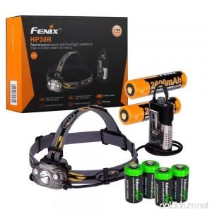 Fenix HP30R 1750 Lumen CREE LED Headlamp (Black color body) 2 X Fenix 18650 Li-ion rechargeable batteries and Four EdisonBright CR123A Lithium batteries bundle - B0733NSXWD