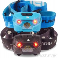 Flagship-X 2-Pack Phoenix Rechargeable IPX4 Waterproof LED Camping Headlamp Flashlight For Running (Cyan & Black) - B075HLJV85