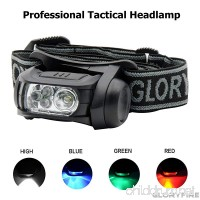 GLORYFIRE Headlamp LED 4 Colors(White Red Blue Green) Headlight Battery Powered Helmet Light Camping Running 3 AAA Batteries Powered Water&Shock Resistant Fixation on Molle System - B01N1T22A7
