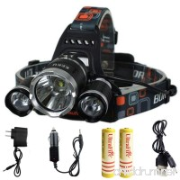 KEKU High Power LED Headlamp(5000 Lumens MAX) Rechargeable Waterproof HeadLamp Flashlight on the head headlamp with 3 Xm-l T6 4 Modes Wall Charger and Car Charger for Outdoor Sports - B01AL3IUMK