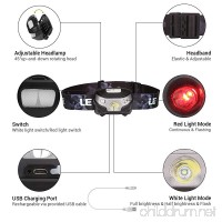LE LED Headlamp Flashlight Rechargeable Headlights  USB Cable Included Red Light 5 Modes Running Jogging Hiking - B01DNDMSLY