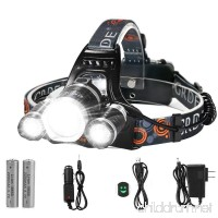LED Headlamp 5000 Lumens Max 4 Modes Waterproof Head Flashlight Light with 2 Rechargeable Batteries USB Cable Wall Charger and Car Charger for Outdoor Sports - B01M9H41FL