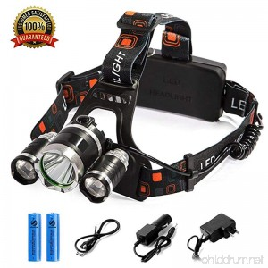 LED Headlamp Flashlight Kit Portable Rechargeable Waterproof Adjustable Brightest Headlight 10000-Lumen Head Light with 18650 Rechargeable Batteries for Hunting Fishing Camping Night-Work (3 Bulbs) - B07CPQ5W7M