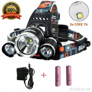 Newest Version OF Brightest LED Headlamp 15000 Lumen Flashlight IMPROVED LED Rechargeable headlight flashlights Waterproof Hat Light Samsung Original 18650 Battery Camping Fishing headlamps - B075M98BB8