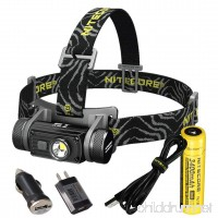 Nitecore HC60 1000 Lumen USB Rechargeable LED Headlamp  3400 mAh 18650 included plus LumenTac Adapters and USB Charging Cable - B01M0L6H9W