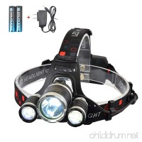 Smiling Shark 5000 Lumen Bright Headlamp Flashlight  3 XML-T6 LED Headlight Torch with Rechargeable Batteries and Charger for Outdoor Sport - B01CG66Q2G