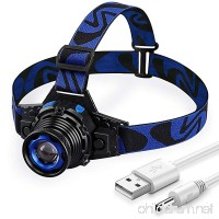 STCT Headlamp Rechargeable via USB  Head Light LED Zoomable 3 Modes  Adjustable and Waterproof Flashlight  Blue - B0744H5T4L