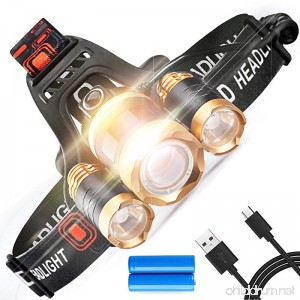 STCT Street Cat Brightest LED Rechargeable Headlamp 5000 lumens 4 modes Waterproof Headlight LED CREE Headlamp Flashlight Zoomable 3 Leds - B073GVVG4X