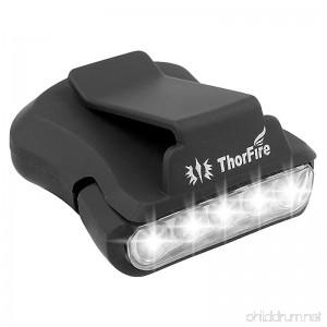 Thorfire Cap Hat Light 5-LED Headlamp Rotatable Ball Cap Visor light Clip-on Hat Light Hands Free for Hunting Camping Fishing (Pack of 1) - B018VP3JJE