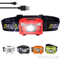 three trees Head Torchlight Sensor Brightest LED With Red Light Rechargeable outdoor Headlamp Flashlight for Kids Men and Women Waterproof for Running  Walking Reading Camping - B06XKVX8TX