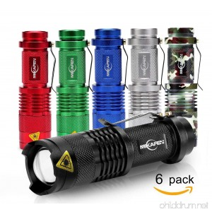 6 Pack Mini Flashlights LED Flashlight Torch 300lm Adjustable Focus Zoomable Light - B06Y43XC91