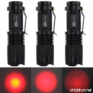AR happy online 3 Pack AR-200 Zoomable 3 Modes Red Light Mini LED Flashlight Tactical Torch with Clip 300 Lumens Adjustable Focus Light (Black Shell Red Light) - B01E5EOFSY