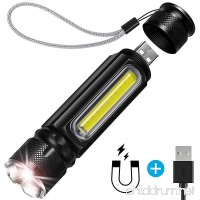 BIBTIM [USB Rechargeable] Tactical Flashlight Built-in Side Light and Magnet (18650 Battery Included)  Brightest 1200 Lumens Cree L2 LED (Best)  Zoomable  IP65 Water Resistant  Mini  Indoor/Outdoor - B07DJ28KMJ