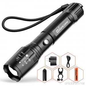 Bright Rechargeable Tactical Flashlight eSamcore High Lumens LED Flashlights Flash Light with Battery for Camping - B07DD9JLG9