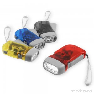 Chromo Inc Immedia-Light Hand Crank Flashlight 4 Pack of Immediate Light for Emergency Camping Home or Car. Green Energy. No-Battery Required. Translucent Case with 3 LED Pure White light - B00DOH19U6