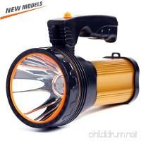 ROMER LED Rechargeable Handheld Searchlight High-power Super Bright 9000 MA 6000 LUMENS CREE Tactical Spotlight Torch Lantern Flashlight (Gold) - B074P4ST39