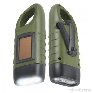 Simpeak Hand Crank Solar Powered Rechargeable LED Flashlight 2 Pack - B01CS949OS