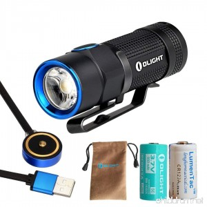 Turbo S Version Olight S1R 900 Lumen USB Rechargeable LED Flashlight - Compact EDC Light with Mini Magnetic Dock Charger Rechargeable Battery and a LumenTac CR123A Battery - B01LDG87ZE