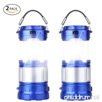 2 Pack Outdoor Camping Lamp  Portable Outdoor Rechargeable Solar LED Camping Light Lantern Handheld Flashlights with USB Charger  Perfect Hiking Fishing Emergency Lights - (2 Pack-Blue) - B07FM4S5RL