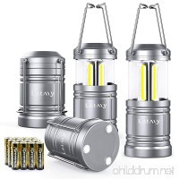 4 Pack Camping Lantern with 12 AA Batteries - Magnetic Base - New COB LED Technology Emits 500 Lumens - Collapsible  Waterproof  Shockproof LED Lantern with Detachable Handles by Letmy - B078RL6TKB