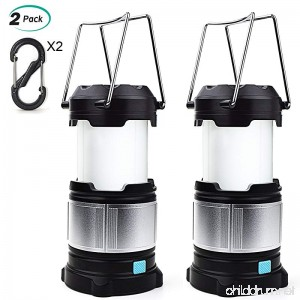 Alcoon 2 Packs Rechargeable LED Camping Lantern Light Lamp with 5600mAh Power Bank Portable Collapsible Waterproof Outdoor Light with 18650 Li-ion Batteries for Camping Traveling Tent Emergency - B07DZZ4QXS