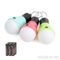 EverBrite Camping Lights 3-Pack Hanging Lantern LED Portable Bulb Tent Lamp High Low Strobe 3 Modes Battery Powered Assorted Colors for Camping Reading Emergency Battery Included - B07B26MHPG