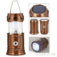 GAXmi Solar Camping Lantern Rechargeable Emergency Light Portable Collapsible LED Flashlight (Bronze) - B01N4MZFKX