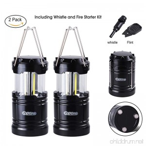 Gshine Camping Lantern LED Lantern Lights with Magnetic Base 2 Pack Portable Camping Gear COB Water Resistant Survival Kit for Emergency Whistle and Fire Starter Kit Included (Black - Pack of 2) - B07791Z7TF